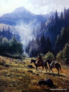 "The smoke from the fire rises to the mountain tops as a cowboy makes his way through with his horses. This print is signed and numbered and is available unframed in size 12""x16"""