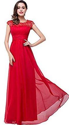 Babyonlinedress Mujer Cap mangas gasa de encaje largo formal Prom vestidos de noche rojo rosso 38