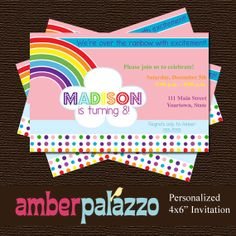 Rainbow Birthday Invitation  Printable  by amberpalazzo on Etsy