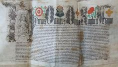 Marriage Deed for Jane Seymour to Henry VIII, c.1536. Currently located in Wiltshire History Centre. Wiltshire is where Wolfhall, Jane's family home, was located. Jane's Phoenix badge can be seen to the right of the Tudor Rose and left of the Fleur de lis.