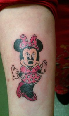 Minnie Mouse Disney tattoo. Done by Tuesday Rooke, Tattoo UK, Rayners Lane, London, England.