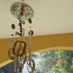 Recycled and Repurposed Art Windchime and Suncatcher. Metal Windchime Made From Belt Buckles,Beads and a Food Processor Grater. Porch Mobile by CarolineArtzi on Etsy