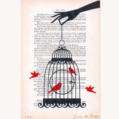 Bird cage-Original Mischtechnik Kunstwerk  von Coco De Paris auf DaWanda.com