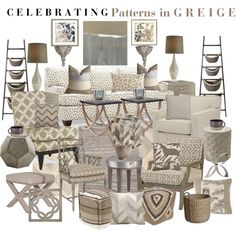 """Celebrating Patterns in Greige"" by aprimmdesign on Polyvore"