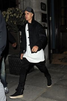 Justin Bieber wearing James Perse Double Face Nylon Trucker Hat, Fear of God Military Sneakers