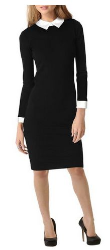 modest yet pretty women's dress. Women's Long Sleeve Black Pencil Business Dress