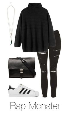"""""""Rap Monster w/ Adidas"""" by btsoutfits ❤ liked on Polyvore featuring Topshop, Toast, adidas and Witchery"""