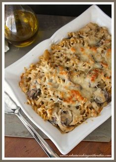 Turkey Mushroom Pasta Bake is the yummiest way to use up leftover turkey! www.cookingwithruthie.com