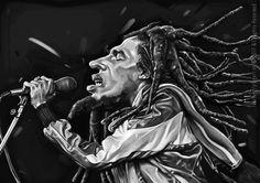 Bob Marley - caricature, digital painting A3, 2017