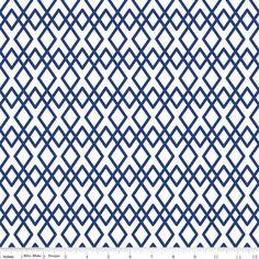 """Stoff grafische Muster - """"Lula Magnolia"""" Rauten weiß - blau, ... - ein Designerstück von FrauFrech-und-HerrFroehlich bei DaWanda"""