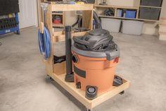 Shop Vacuum Cart with Onboard Storage Woodworking Classes, Woodworking Jigs, Woodworking Projects, Youtube Woodworking, Woodworking Equipment, Woodworking Techniques, Carpentry, Tool Storage, Garage Storage