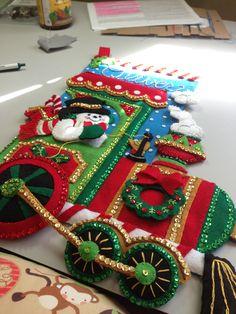 Just finished Oliver's Bucilla stocking. Christmas Fabric Crafts, Felt Christmas Decorations, Christmas Signs, Elegant Christmas, Christmas Wreaths, Christmas Crafts, Vintage Christmas, Christmas Ornaments, Baby Christmas Stocking