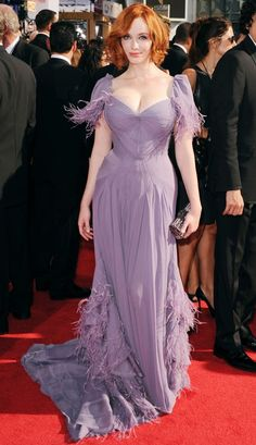 Christina Hendricks <3 Lavender dress with Ostrich Feather details