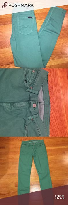 "7 For All Mankind jeans 7 For All Mankind light green skinny jeans. Stretchy. Very comfy. Size 26. 67% cotton. 29% polyester. 4% spandex. 29"" inseam 7 For All Mankind Jeans Skinny"