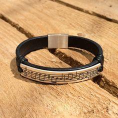Personalized music sheet leather bracelet by CustomLeatherDesign