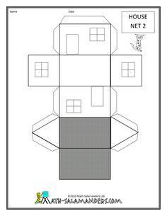 shape printables house net 2 drawn