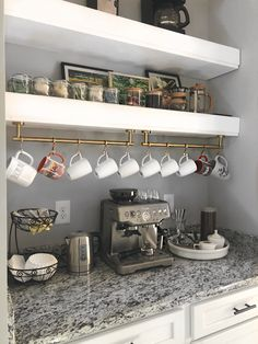 Transform your butler's pantry into the ultimate beverage station! Check out this butler's pantry organization. Coffee Bar Station, Coffee Station Kitchen, Coffee Bars In Kitchen, Coffee Bar Home, Home Coffee Stations, Tea Station, Coffee Bar Ideas, Beverage Stations, Coffe Bar