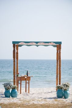 Chuppah - On the Beach - See more on SMP, here:  http://www.StyleMePretty.com/destination-weddings/2014/05/28/beach-chic-punta-mita-wedding-at-casa-amore/ Event Planning: TheDazzlingDetails.com --  Photography: KLKPhotography.com