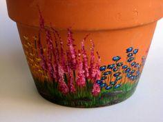 Hand Painted Flower Pot Terra Cotta Flower Pot Painted by SANDSUZ