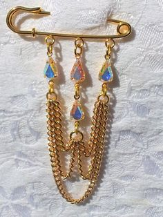 Crystal teardrop gold chain swag Kilt pin by OdesiaMayJewellery, £9.00