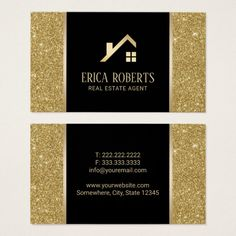 Real Estate Agent Black & Gold Glitter Custom Logo Business Card Custom office supplies #business #logo #branding