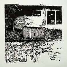 Veľkomoravská 2866-9 OzTN III  [printmaking, cutting into MDF] #printmaking #woodcut #bunker #art #shelters