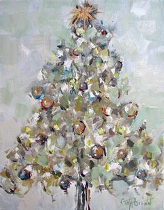 """O CHRISTMAS TREE"" Original oil painting of a Christmas tree by artist Gina Brown www.GinaBrownArt.com"