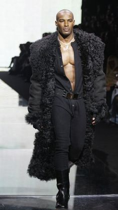 The BEAUTIFUL Tyson Beckford in a Fur Fashion Show. Onesies never looked so sexy...