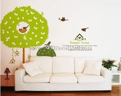 Birds Sweet Home And Tree Wall Decals – WallDecalMall.com