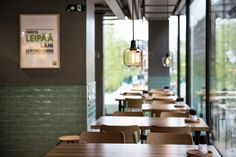 Our new burger restaurant in Helsinki, Finland. What do you think? Burger Restaurant, Restaurant Design, Fresh Potato, Helsinki, Finland, Restaurants, Table, Home Decor, Decoration Home