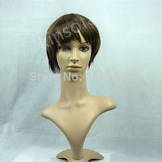 Chic Cheap Celebrity Hairstyle Short Straight Mixed Color Wig 100% Human Hair factory price $68.00