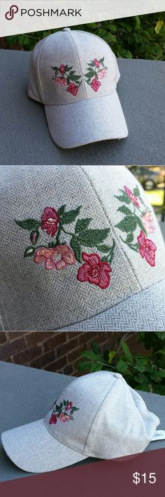 Flora Baseball Hat Adjustable velcro back Embroidered flowers  I offer a 15% discount in 2 or more items. Thank you for stopping by my closet and have fun:) Anna & Ava Accessories Hats