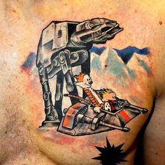 Epic Calvin and Hobbes Star Wars tattoo