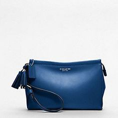 Coach Legacy Collection in Cobalt Blue - LEGACY LEATHER LARGE WRISTLET  $108.00	  style:48025
