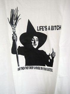 Hanes T Shirt Lifes A Bitch Size XL 46 48 White Men Women Tee Unisex Adult | eBay
