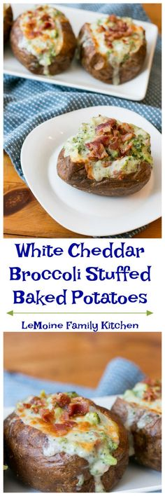 These White Cheddar Broccoli Stuffed Baked Potatoes are easy to make and absolutely delicious! Perfectly baked potato stuffed with a cheesy broccoli sauce! Entree Recipes, Side Dish Recipes, Dinner Recipes, Fall Recipes, Delicious Recipes, Dinner Ideas, Pasta Fagioli Soup Recipe, Pulled Chicken Sandwiches, Stuffed Baked Potatoes