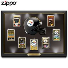 Limited to 5,000! Officially-licensed Zippo® lighters celebrate Steelers championship victories. Made in the U.S.A. Custom lighted display case.