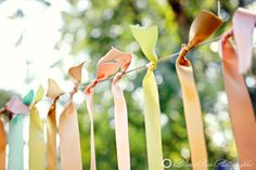 outdoor party decorating with ribbon!