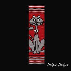 Meow Beaded Peyote Bracelet Cuff Pattern by FUNPATTERNDESIGNS