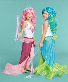 When mermaids come onto land, they wear this sparkly tail. It fastens around the waist with Velcro, and has a covered elastic waistband.