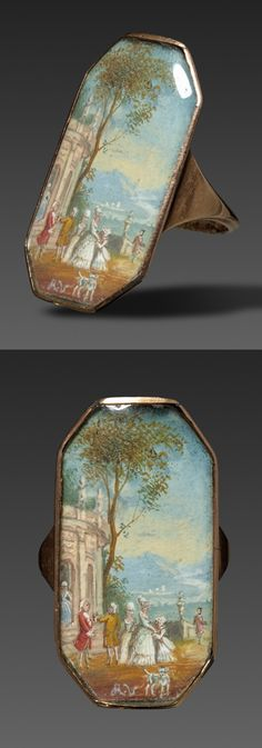 FRENCH ANTIQUE RING ~ France, 1800s. Miniature painting mounted in gold