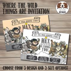Where the Wild Things Are Invitation. Choose from 3 colour options! Printable/Digital File by TwoBearsDesigns on Etsy https://www.etsy.com/listing/230558139/where-the-wild-things-are-invitation