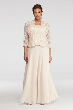 You will look poised and elegant in this mock three piece mother of the bride dress!  Long floor length chiffon skirt with sequins and bead embellished bodice.  3/4 sleeve removable lace jacket is embellished with sequins and beads.  Designed by Emma Street.  Fully lined with 100% polyester. Center back zipper. Imported. Dry clean only.
