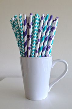 Paper Straws - 25 Teal and Purple and White Striped and Chevron Party Straws Birthday Wedding Baby Shower Bridal Shower Mermaid Theme by PuppyCatCrafts, $3.60