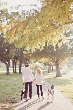 Are you doing an engagement photo?Engaged Couple Walking With Dogs