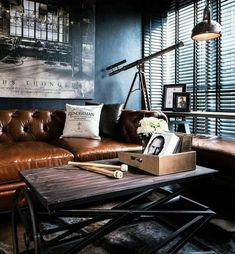 Office goals. Love this leather couch.  Pages to upgrade your style  @stylishmanmag  @shopthatgrid  @dadthreads  @flygrids