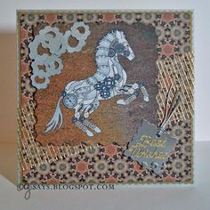 This gorgeous card was made by CG using the Steampunk Horse Digital Stamp and Paper Pack