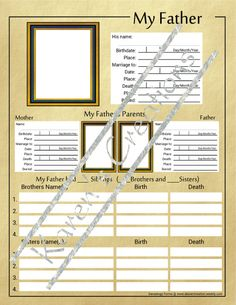 Custom Blank Forms for Genealogy Research - For Ty and Logan Family Tree Book, Family Tree Chart, Family History Book, Family Album, Family Trees, Genealogy Forms, Genealogy Research, Family Genealogy, Free Genealogy