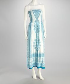 Take a look at this Turquoise & White Strapless Dress by India Boutique on #zulily today!