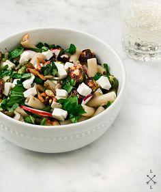 brussels sprout & ricotta salata brown rice pasta salad with dijon vinaigrette via @Jeanine   Love & Lemons